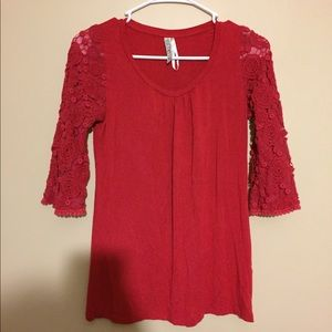 red lace sweetheart blouse